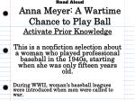 Read Aloud Anna Meyer: A Wartime Chance to Play Ball