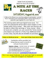 Tickets are $30.00 per person    Doors open at 6pm, Races start at 7pm