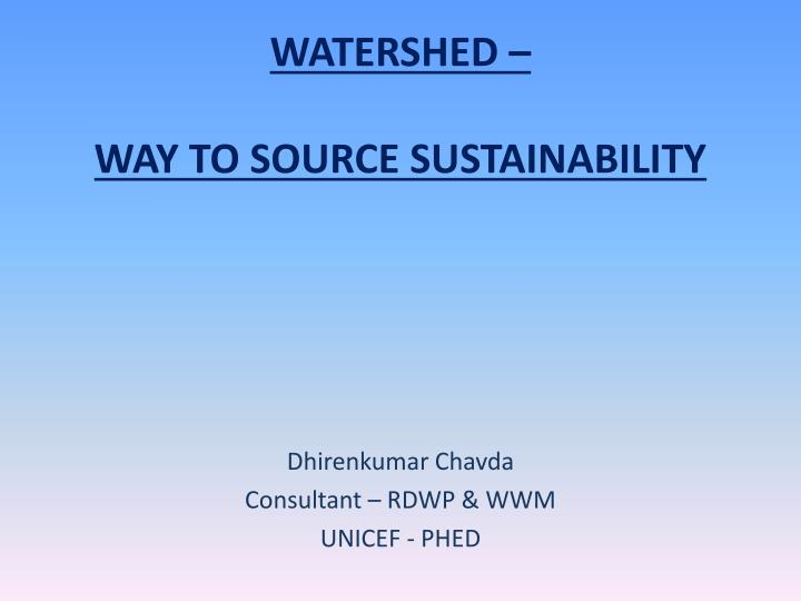 watershed way to source sustainability n.