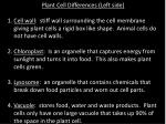 Plant Cell Differences (Left side)