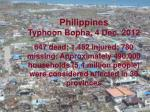 Philippines Typhoon Bopha, 4 Dec. 2012