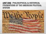 UNIT ONE :  Philosophical & Historical Foundations of the American Political System