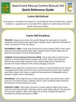 Search and Rescue Canine Mutual Aid Quick Reference Guide