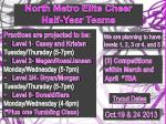 North Metro  Elite Cheer   Half-Year Teams