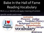 Babe In the Hall of Fame Reading Vocabulary