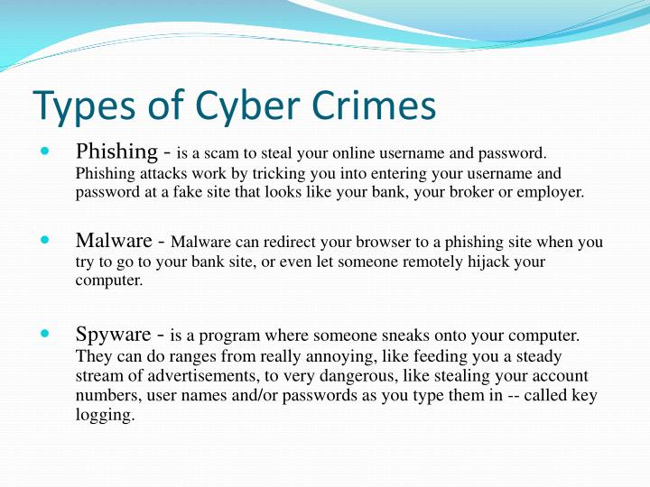 PPT - Types of Cyber Crimes PowerPoint Presentation - ID:2482575