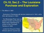 Ch.10, Sec.2 – The Louisiana Purchase and Exploration