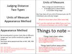 Judging Distance Two Types Units of Measure Appearance Method