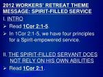 2012 WORKERS' RETREAT THEME MESSAGE: SPIRIT-FILLED SERVICE  I.  INTRO Read  1Cor 2:1- 5 .