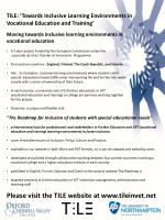 TILE: 'Towards Inclusive Learning Environments in Vocational Education and Training'