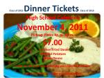 Class of 2015 Dinner Tickets Class of 2015