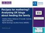 Recipes for mothering?  Analysing UK  blogs about feeding the family