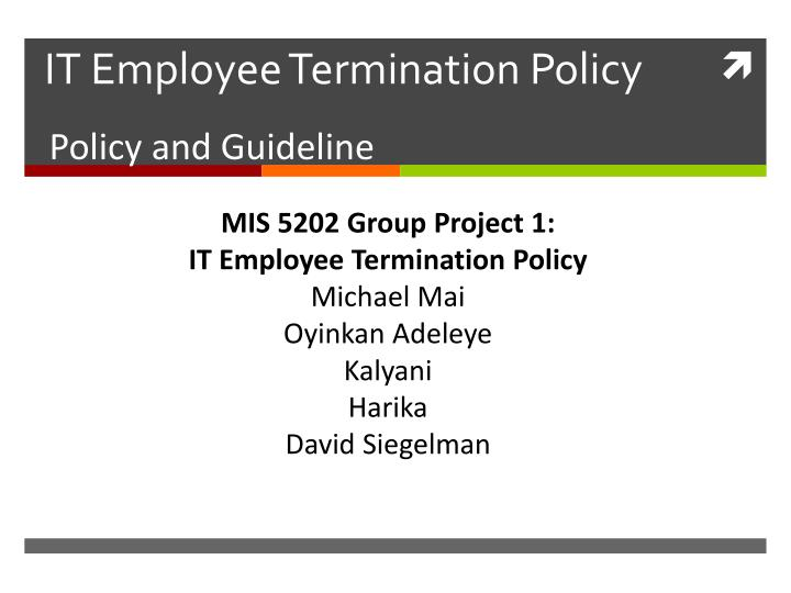 it employee termination policy n.