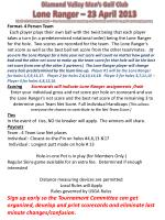 Diamond Valley Men's Golf Club Lone Ranger – 23 April 2013