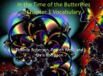 In the Time of the Butterflies Chapter 1 Vocabulary