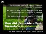 How did genocide affect Rwanda's  population?