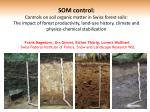SOM control: Controls on soil organic matter in Swiss forest soils: