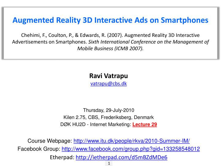 PPT - Augmented Reality 3D Interactive Ads on Smartphones