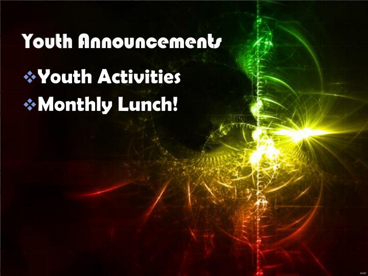 youth announcements n.