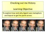 Checking out me History Learning Objective