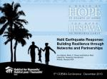 Haiti Earthquake Response: Building Resilience through Networks and Partnerships