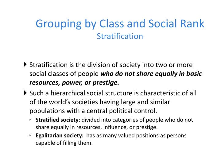 grouping by class and social rank stratification n.