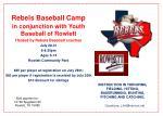 Rebels Baseball Camp in conjunction with Youth Baseball of Rowlett