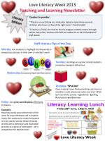 Love Literacy Week 2013 Teaching and Learning Newsletter