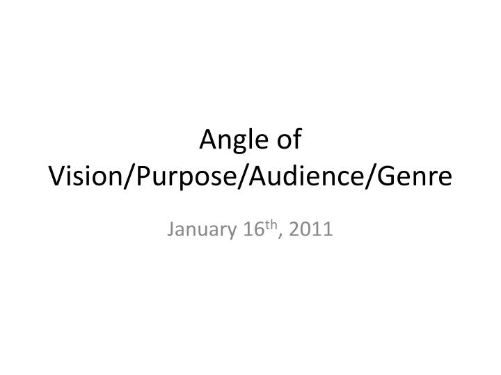 angle of vision purpose audience genre n.