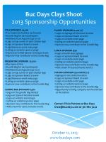 Buc  Days Clays Shoot 2013 Sponsorship Opportunities