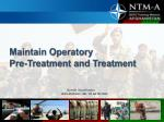 Maintain Operatory Pre-Treatment and Treatment