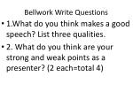Bellwork Write Questions