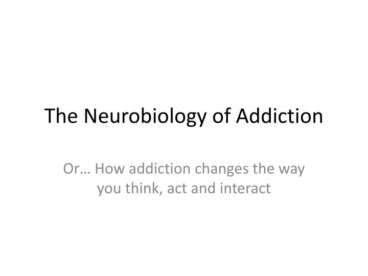 the neurobiology of addiction n.