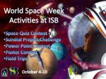 World Space Week Activities at ISB