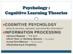 Psychology : Cognitive Learning Theories