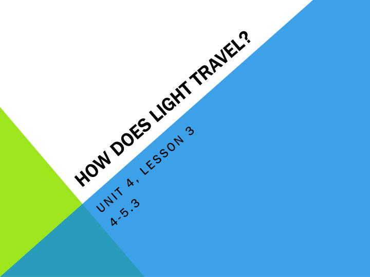 how does light travel n.