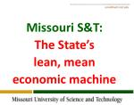 Missouri S&T: The State's lean, mean economic machine
