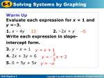Warm Up Evaluate each expression for  x  = 1 and  y  =–3. 1. x  – 4 y 2.  –2 x  +  y