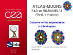 ATLAS-Muons R&D on Micromegas ( Weekly meeting) Outcome for the segmentation in 2-fold option