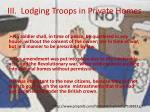 III.  Lodging Troops in Private Homes