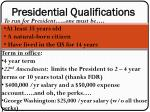 Presidential Qualifications