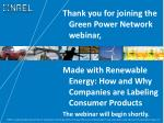 Thank you for joining the Green Power Network webinar,