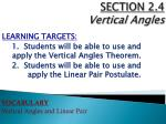SECTION  2.4 Vertical Angles