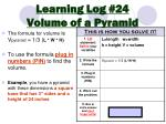 Learning Log #24 Volume of a Pyramid