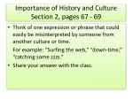 Importance of History and Culture Section 2, pages 67 - 69