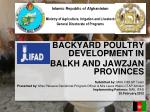 Backyard Poultry Development in  Balkh and  Jawzjan  Provinces Submitted by:  MAIL RMLSP Team