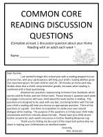 COMMON CORE READING DISCUSSION QUESTIONS