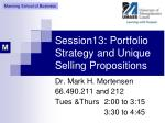 Session13: Portfolio Strategy and Unique Selling Propositions