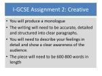I-GCSE Assignment 2: Creative