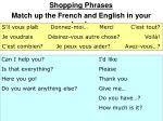 Shopping Phrases Match up the French and English in your book.